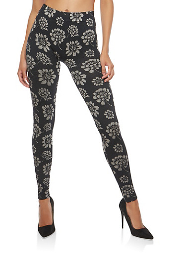 Floral Terry Lined Leggings,BLACK/WHITE,large