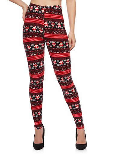 Santa Print Leggings,RED,large