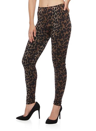 Leopard Print Leggings,BROWN,large