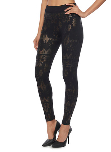 Leggings with Aztec Print Foil,BRONZE,large