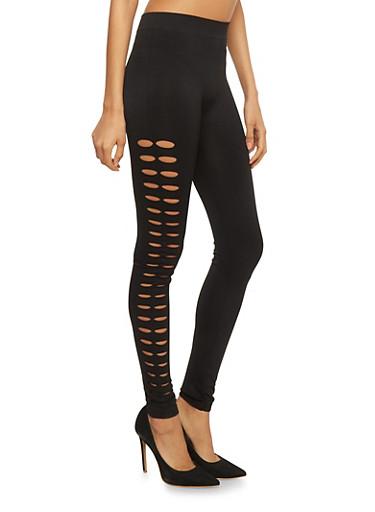 Solid Leggings with Slashed Sides,BLACK,large
