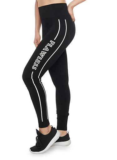 Wide Waist Leggings with Varsity Stripe on Leg,BLACK/WHITE,large
