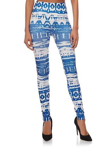 Lasercut Abstract Tie Dye Print Leggings,NAVY,large