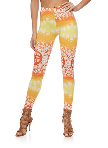 Two Tone Printed Leggings,CORAL,large