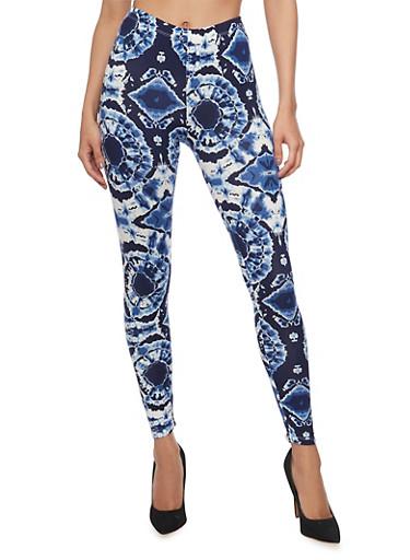 Tie Dye Print Leggings,NAVY,large