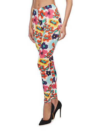 Multicolor Floral Leggings,FUCHSIA,large
