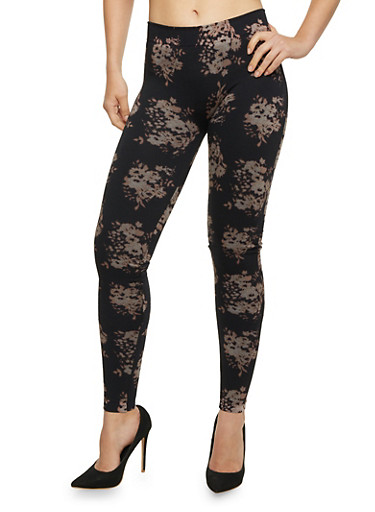 Floral Print Leggings,GREY/BLACK,large