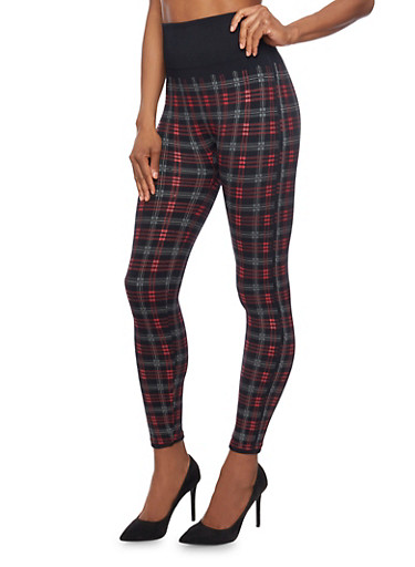 Plaid Fleece Leggings with Foldover Waist,RED/BLACK,large