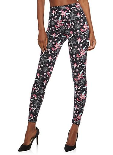 Soft Knit Floral Print Leggings,BLACK MULTI,large