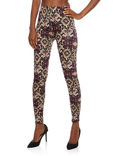 Soft Knit Printed Leggings,MAUVE,large