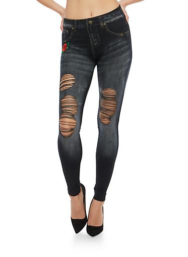 Slashed Denim Print Leggings with Floral Applique,BLACK,large