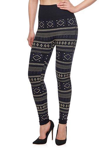 High Waisted Leggings with Aztec Print and Contrast Waist,BLACK,large