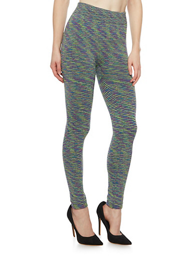 Space Dye Leggings with Fleece Lining,LIME,large