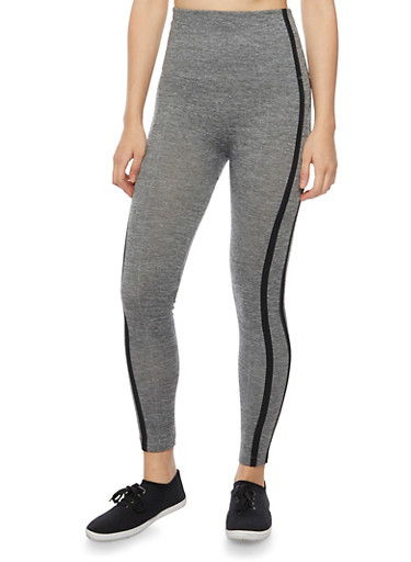 High Waisted Leggings with Striped Trim,HEATHER,large