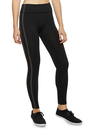 Leggings with Side Stripes and Fleece Lining,BLACK,large