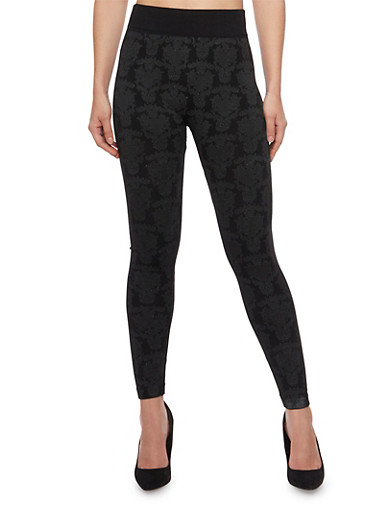 Printed Stretch Knit Leggings,BLACK,large