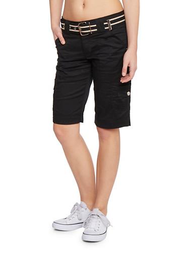Cargo Shorts with Striped Belt,BLACK,large