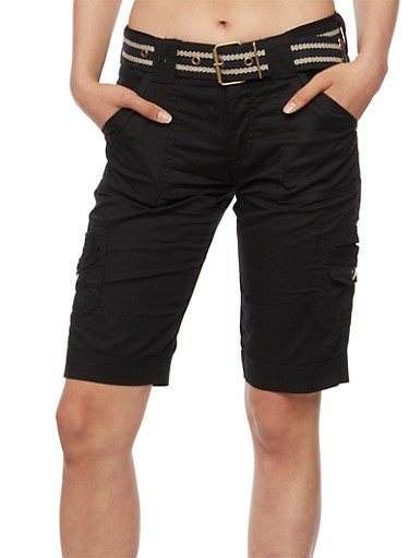 Belted Military Cargo Bermuda Shorts,BLACK,large
