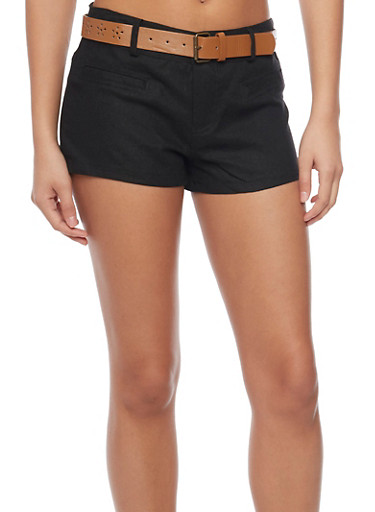 Linen Shorts with Floral Lasercut Belt,BLACK,large