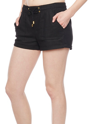 Cuffed Linen Shorts with Drawstring Waist,BLACK,large