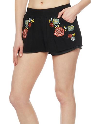 Embroidered Floral Shorts,BLACK,large