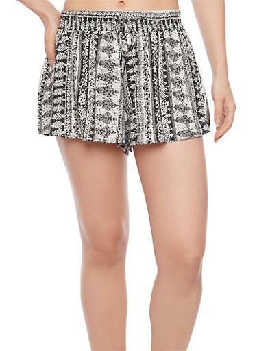 Smock Waist Printed Shorts,BLK-WHT 51586,large