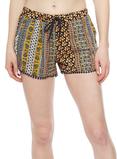 Patterned Shorts with Crochet Trim,NAVY 51595,large