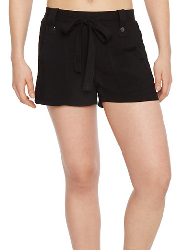 Soft Knit Shorts with Tie Belt,BLACK,large