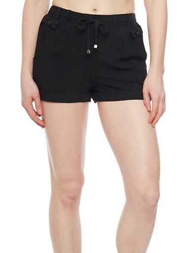 Soft Knit Fixed Cuff Shorts with Tie Front,BLACK,large