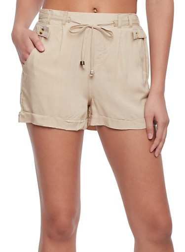 Soft Knit Fixed Cuff Shorts with Tie Front,SAND,large