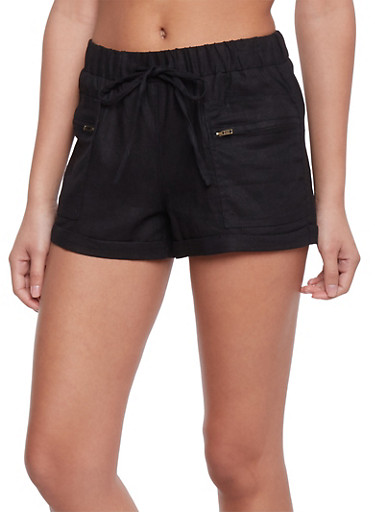 Drawstring Shorts with Zippered Side Pockets,BLACK,large