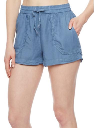 Smocked Chambray Drawstring Waist Shorts with Pork Chop Pockets,MEDIUM WASH,large