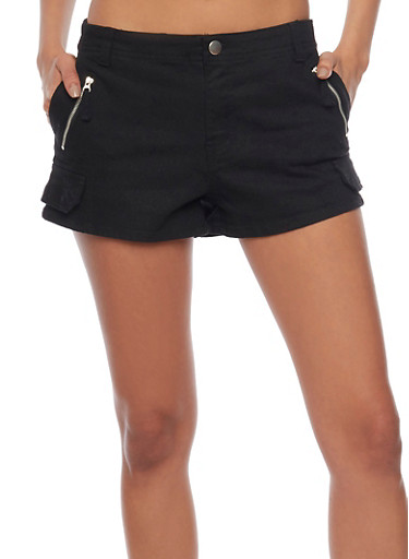 Solid Twill Shorts with Faux Cargo Pocket Flap,BLACK,large