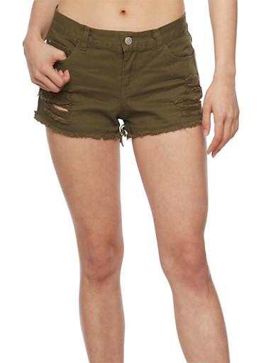 Distressed Denim Cut Off Shorts,OLIVE,large