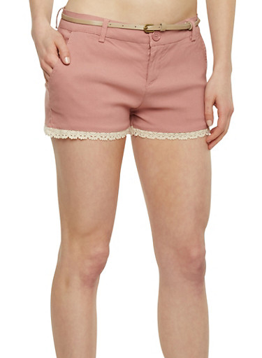 Twill Shorts with Crochet Hem and Belt,MAUVE/KHAKI,large