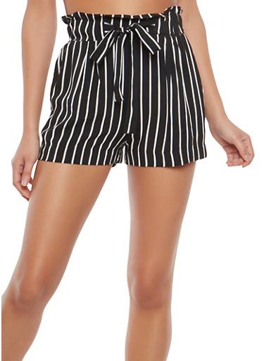 Striped Paperbag Waist Shorts,BLACK/WHITE,large