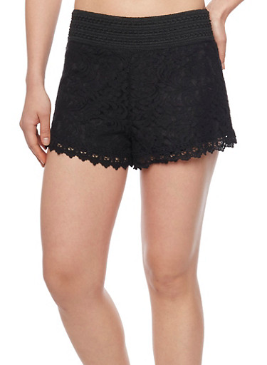 Crochet and Lace Shorts with Waistband Details,BLACK,large