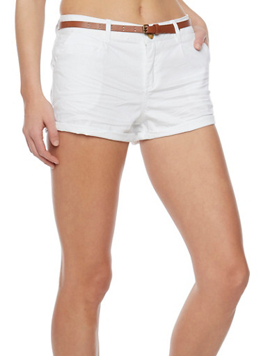 Belted Cuffed Twill Shorts,WHITE,large