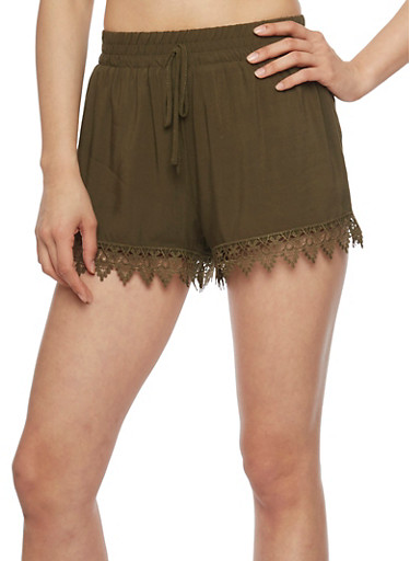 Casual Soft Knit Crochet Trim Shorts,OLIVE,large