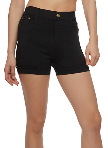Solid Stretch Shorts,BLACK,large