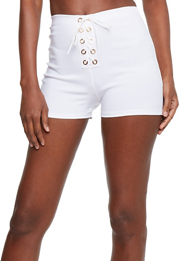 Stretch Knit Lace Up Shorts,WHITE,large