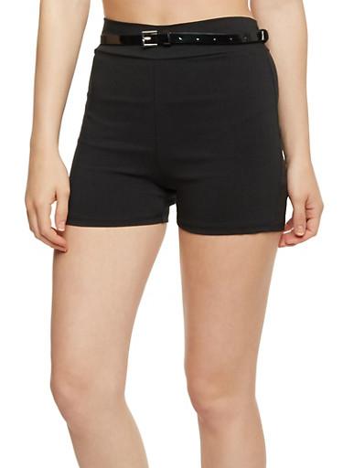 Belted Knit Shorts,BLACK,large