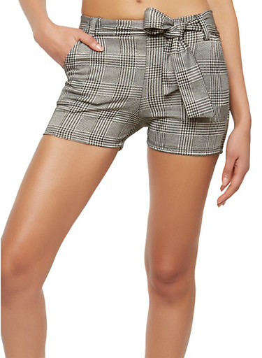 Tie Front Plaid Shorts,BLACK/WHITE,large