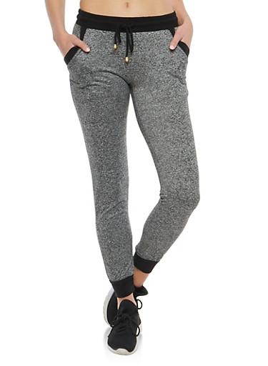 Contrast Trim Marled Sweatpants,BLACK/MAUVE,large