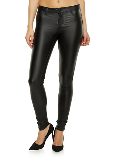 Almost Famous Skinny Jeans with Glossy Coating,BLACK,large