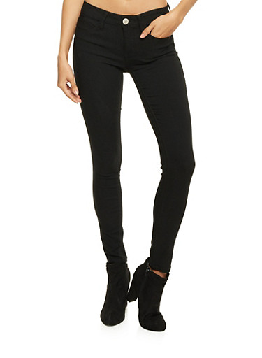 Almost Famous Skinny Jeans in Stretch Denim,BLACK,large