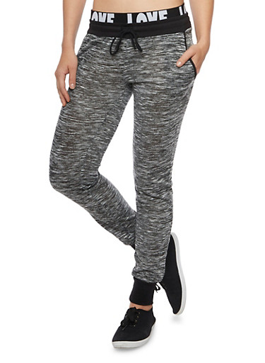Marled Knit Joggers with Love Print Waistband,GRAY,large