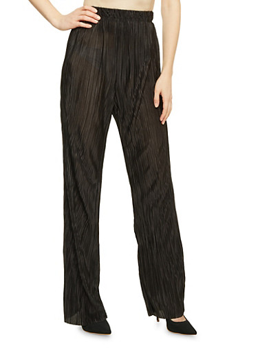 Palazzo Pants in Crinkled Knit,BLACK,large