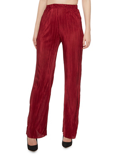 Palazzo Pants in Crinkled Knit,BURGUNDY,large