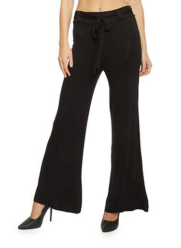 Wide Leg Palazzo Pants with Tie Belt,BLACK,large
